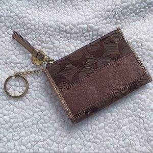 COACH Signature Logo Brown Coin Purse Key Holder